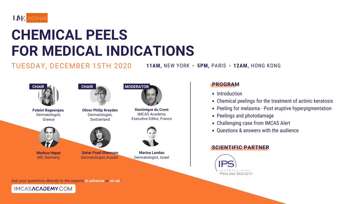 "- NEXT LIVE WEBINAR - December 15 at 5PM (Paris time)  Join us for a LIVE webinar on IMCAS Academy dedicated to ""Chemical peels for medical indications"". Register & watch for free Right pointing backhand index https://t.co/6UqWQpFHQx https://t.co/Yo6ZMmROz8"