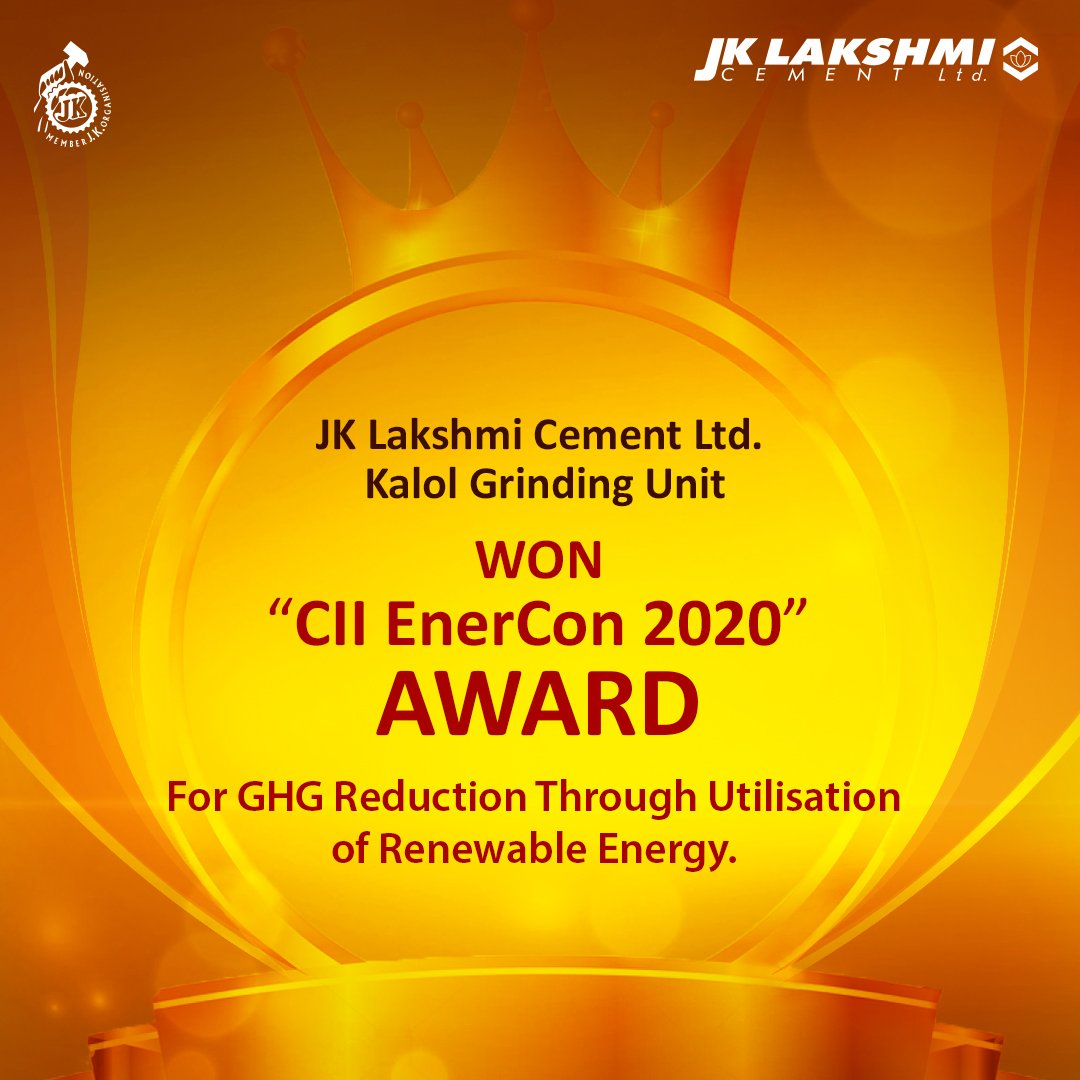 """We are proud to announce that JK Lakshmi Cement Ltd.'s Kalol Grinding Unit became the National Winner of """"CII EnerCon 2020"""",for GHG Reduction Through UtilisationOf Renewable Energy"""".The honor empowered our Buland Soch & elevated it to another level."""