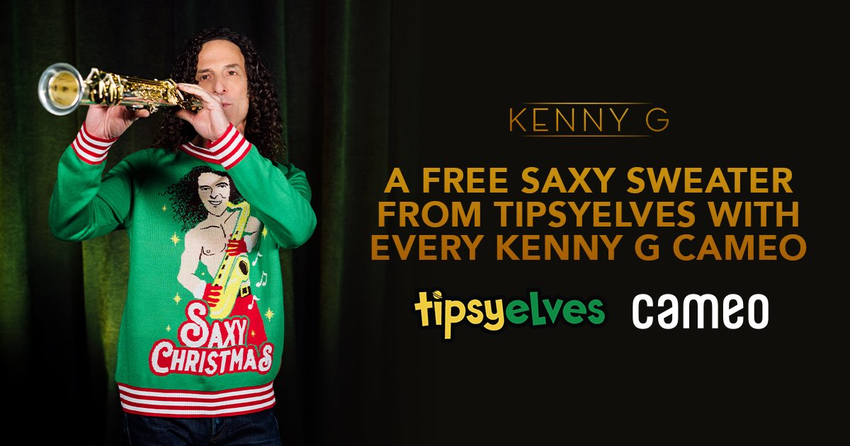 Ho Ho Ho, the perfect gift bundle for the holidays! Every Kenny G @BookCameo comes with a FREE saxy Christmas sweater from @TipsyElves!