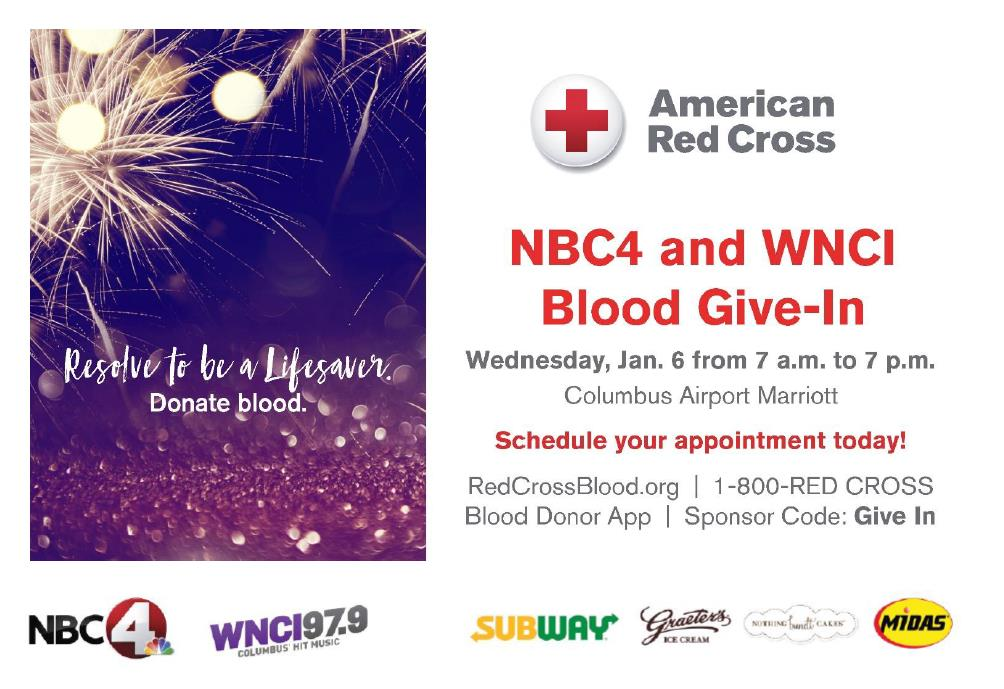 We love the holidays, but they often mean fewer people are giving blood. You can help! Free T-shirt, ice cream, food & more when you come to help save lives at @nbc4i @979WNCI #BloodGiveIn Blood Drive Wednesday, Jan. 6! Join us & #GiveWithMeaning! Details: