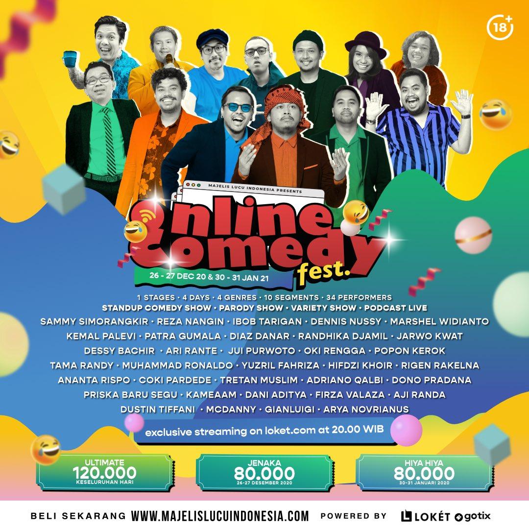 1 Stages - 4 Days - 4 Genres - 10 Segmens - 34 Performers  Online Comedy Fest! 26-27 Desember 2020 & 30-31 Januari 2021 Pukul 20.00 Tayang di @loketcom   Beli tiketnya di   #Onlinecomedyfest #IDGAF