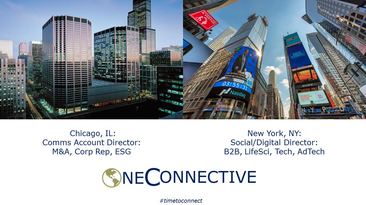 Chicago, IL: Financial Comms/PR Account Director for leading Comms/Advisory Firm. M&A, IR, ESG exp. a +  NY, NY: Digital Social Media Director Communications/PR/IR firm.  #timetoconnect #publicrelations #marketing #prjobs #marketingjobs #communications #pr #ir #ESG