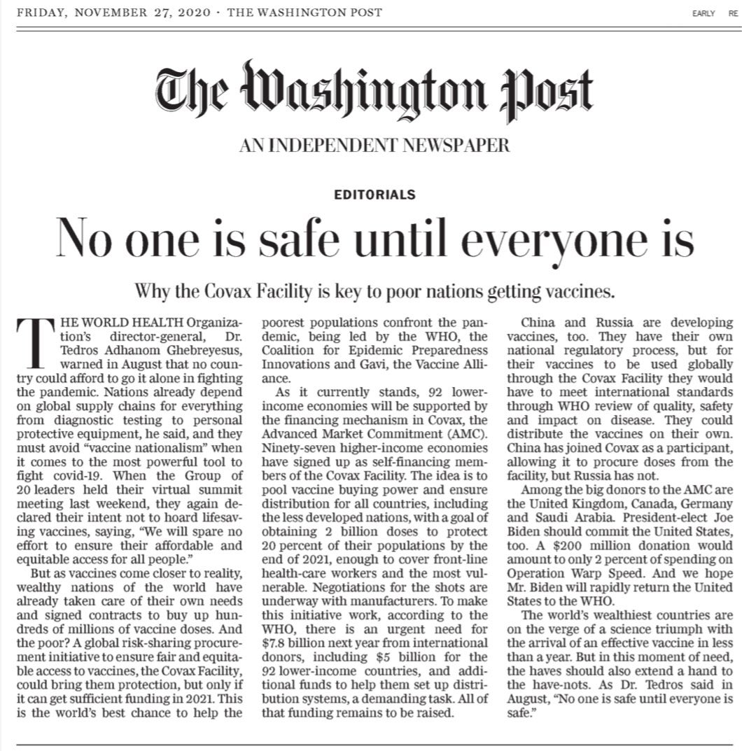 Replying to @DrTedros: No one is safe until everyone is safe. #COVID19 @washingtonpost