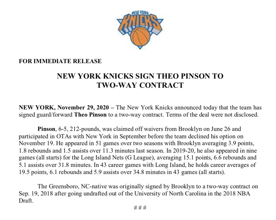 .@nyknicks Sign Theo Pinson to Two-Way Contract https://t.co/RDK0SFSkty