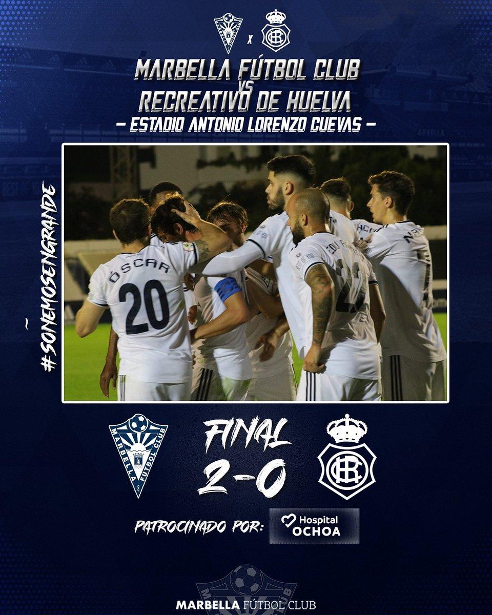 💥 ¡¡¡¡𝗩𝗮𝗺𝗼𝘀, 𝗠𝗮𝗿𝗯𝗲𝗹𝗹𝗮!!!! 👊 ✌  2️⃣ #MarbellaFC  0️⃣ @recreoficial  ⚽️ @eGranero11 (38') ⚽️ @alfredplanas17 (72')  💫 #SoñemosEnGrande