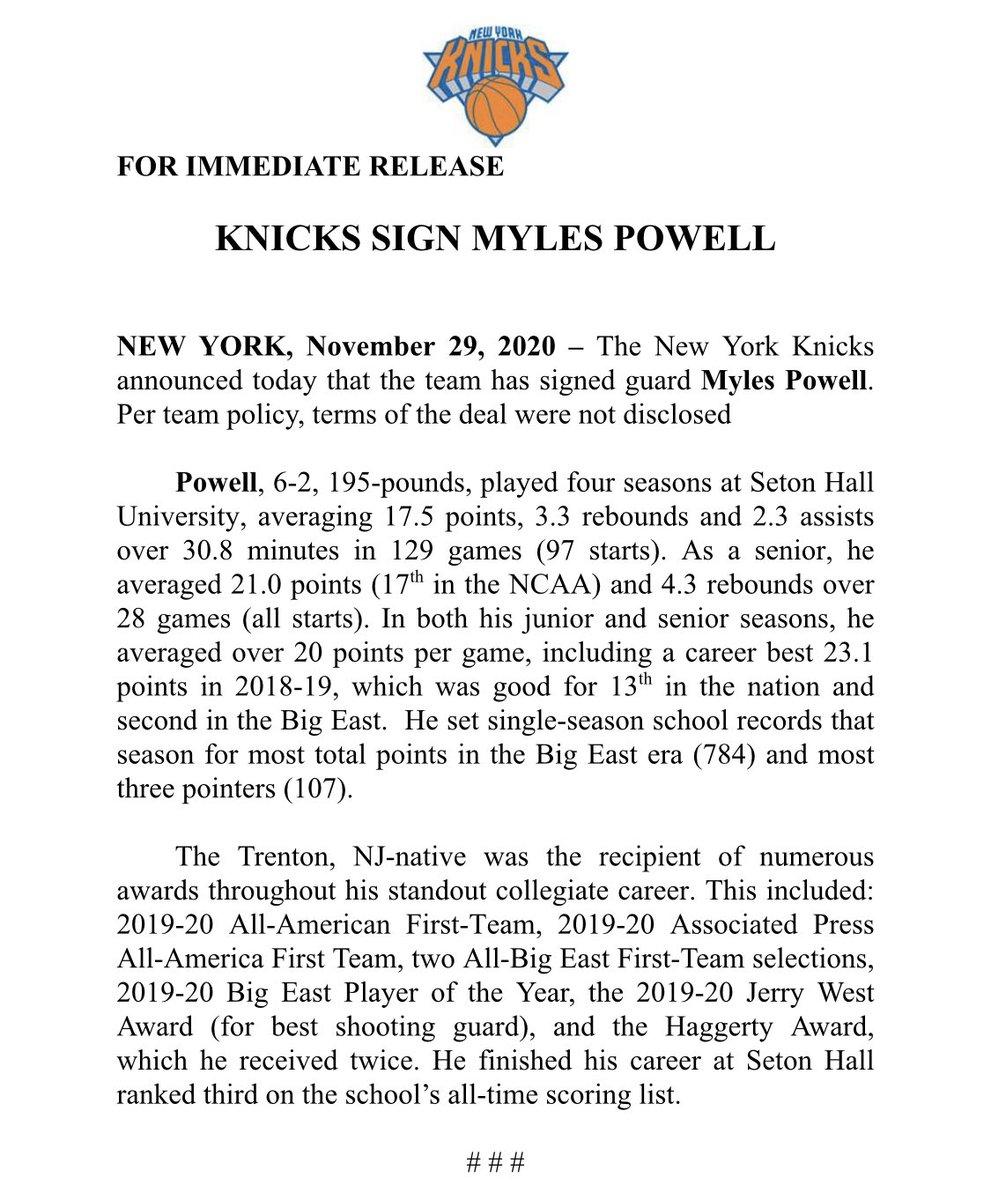 .@nyknicks Sign Myles Powell https://t.co/HFw0SY3z1E