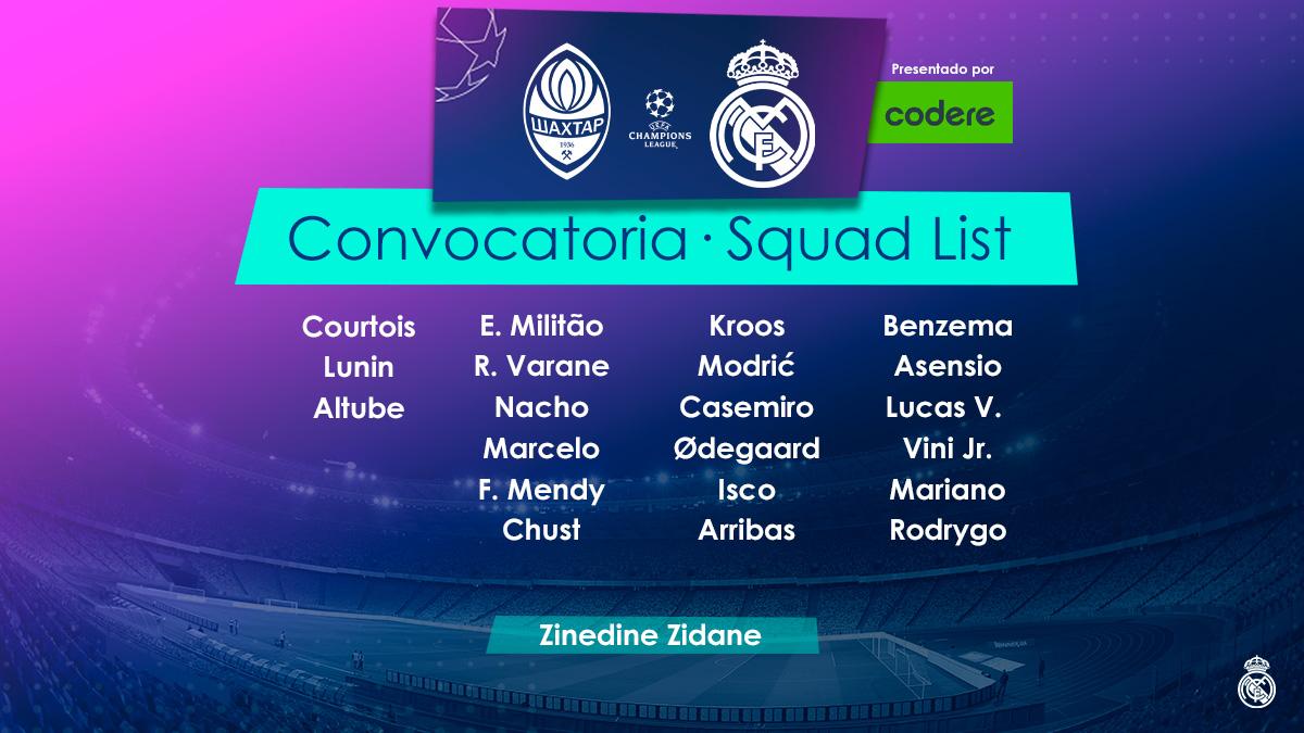 📋✅ ¡Estos son los 21 jugadores convocados para enfrentarnos al @FCShakhtar! @CodereApuestas   #RMUCL