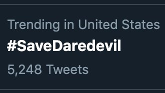 🚨 WE'RE TRENDING! 🚨 Daredevil fans, you're making this happen! Let's keep it going!! 😈 #SaveDaredevil  @MarvelStudios @Disney @Kevfeige