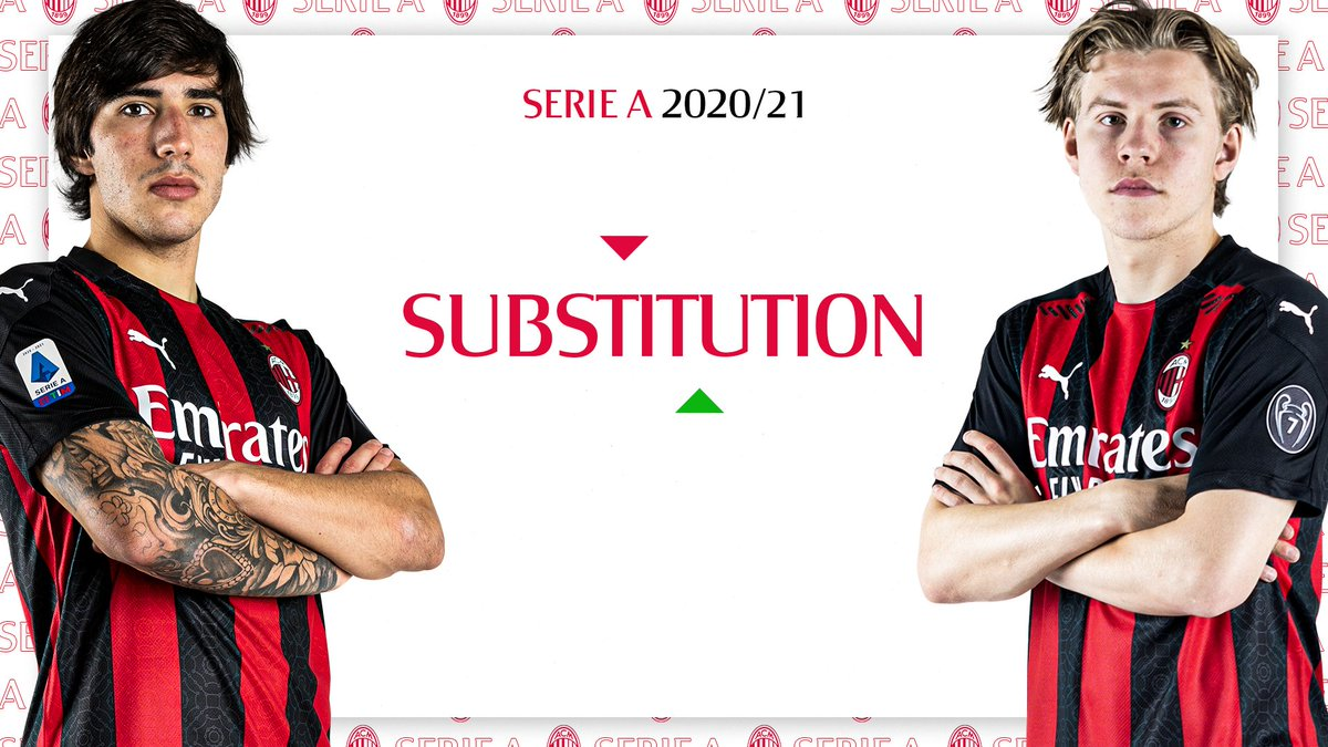 ⏱ 82' Second sub: @jenspetter99 comes on for Tonali.  Krunić to drop back to the midfield line #MilanFiorentina 2-0 #SempreMilan