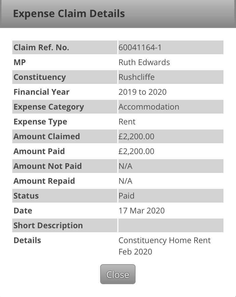 What does 'constituency home rent' in your expenses mean @RuthEdwardsMP? Is it for renting a home in, or in your case near, our constituency of #Rushcliffe? Genuinely interested & apologies if I'm misunderstanding the phrasing of the entry.