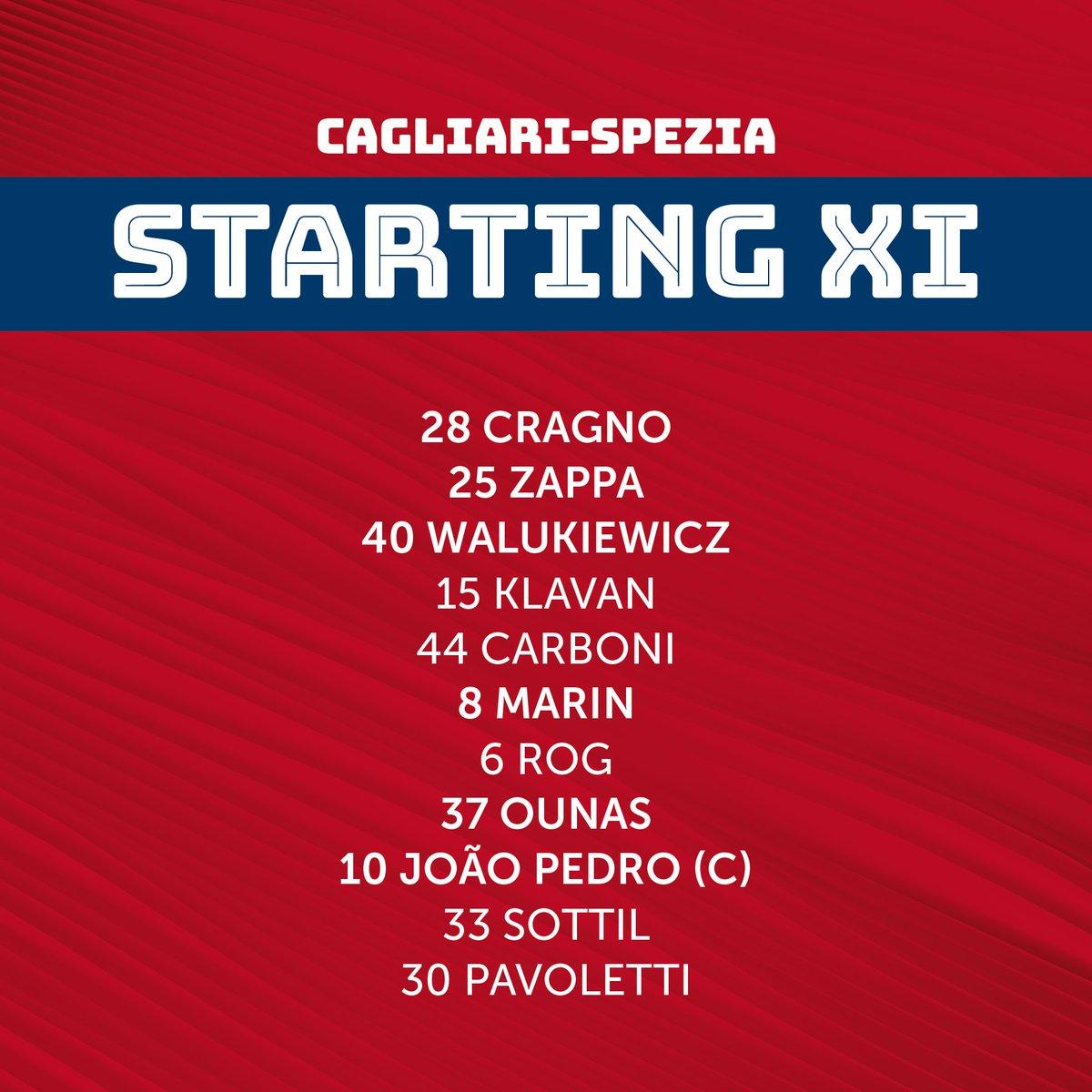 👤 | STARTING XI  Così in campo fra un'ora esatta 👊🏼  #CagliariSpezia #SerieATIM #forzaCasteddu