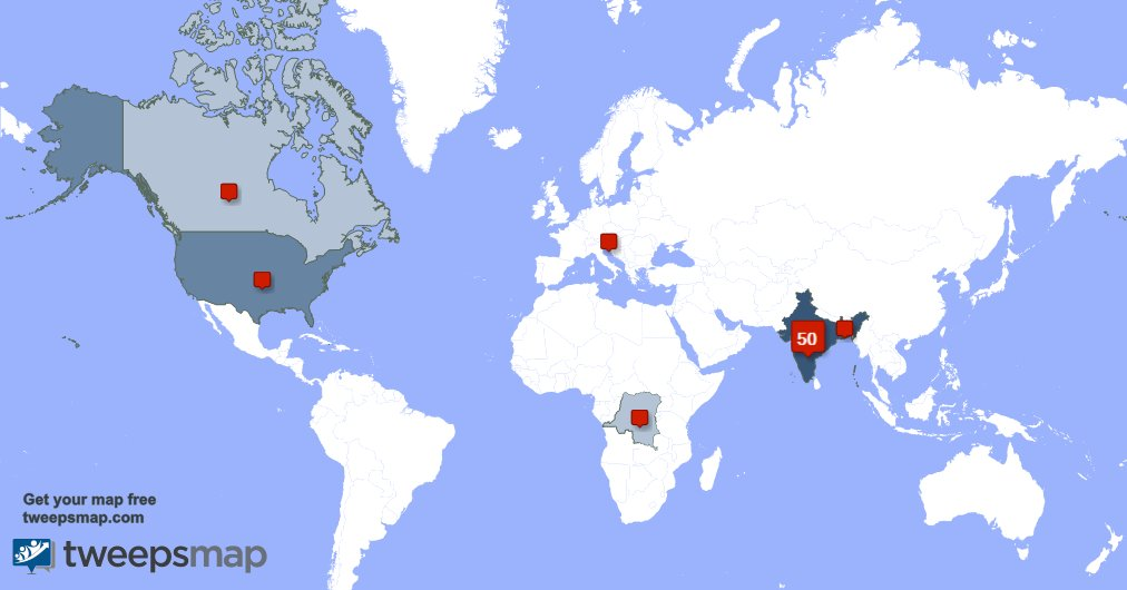My followers are in India(50%), USA(21%) Get your free map