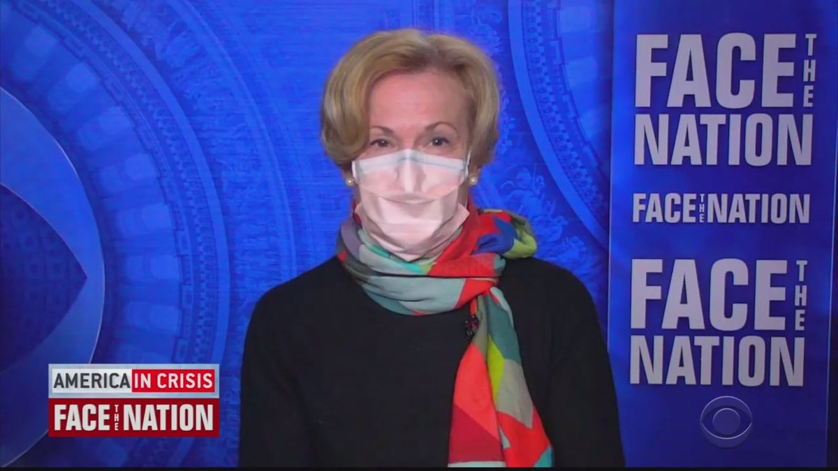Dr. Deborah Birx wore a mask during her interview on Face the Nation