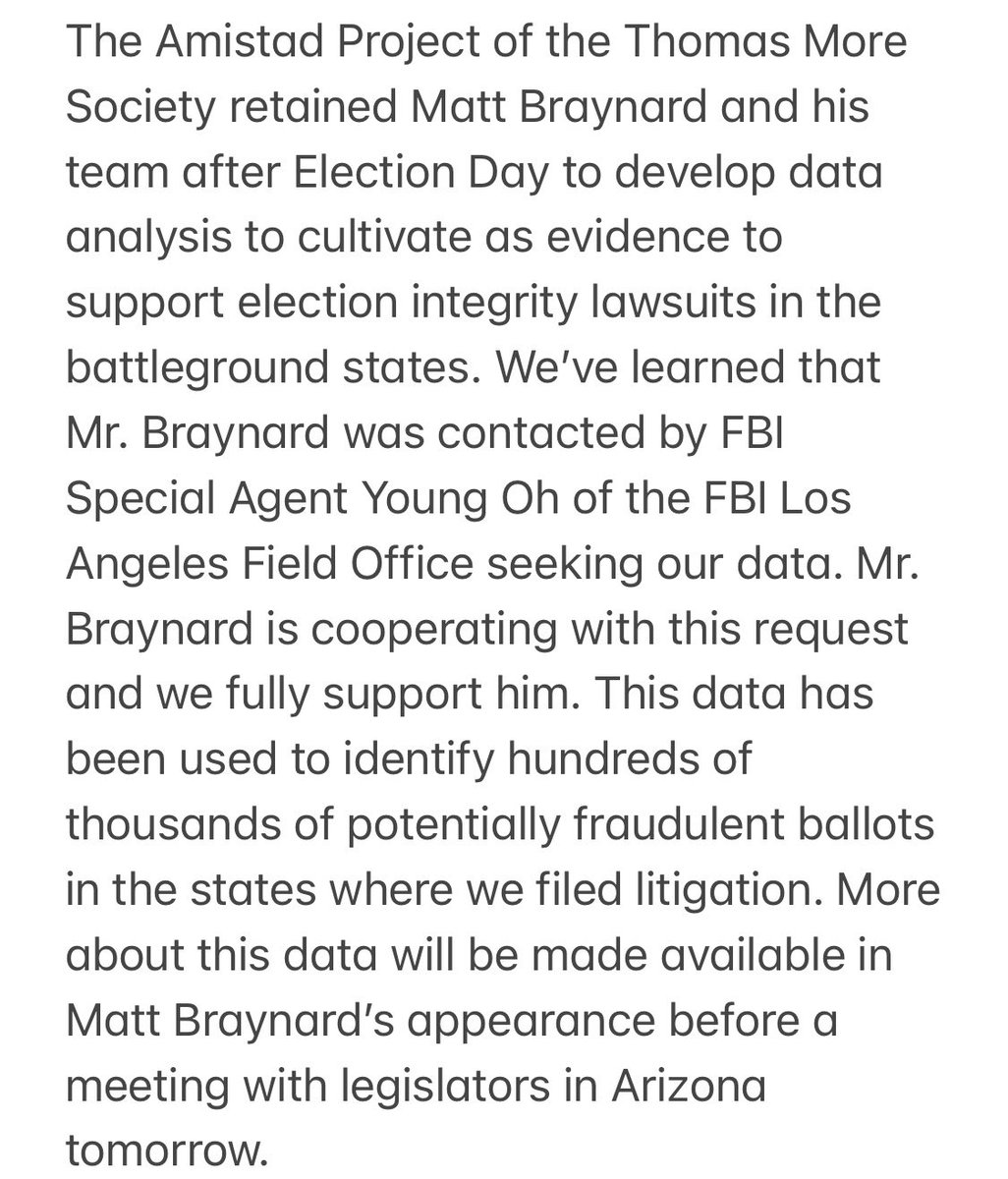 After learning that hundreds of thousands of ballots are potentially fraudulent- The FBI has now requested to look at our data.   See statement below: https://t.co/4CZKITK5cz