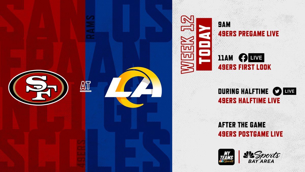 Don't miss a second of today's Niners coverage before, during and after the game.  It all starts with 49ers Pregame Live on NBC Sports Bay Area at 9 a.m. https://t.co/8FmT33wbLD