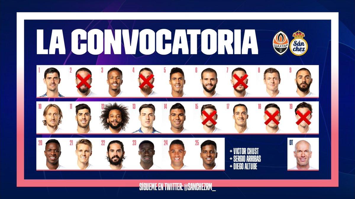 📋   Lᥲ ᥴoᥒvoᥴᥲtoriᥲ  Zinedine Zidane convoca a 21 jugadores para el encuentro frente al Shakhtar Donetsk. Hazard es baja por lesión. Benzema está de vuelta.   #UCL   #ShakhtarRealMadrid https://t.co/wAf3gDTfbO
