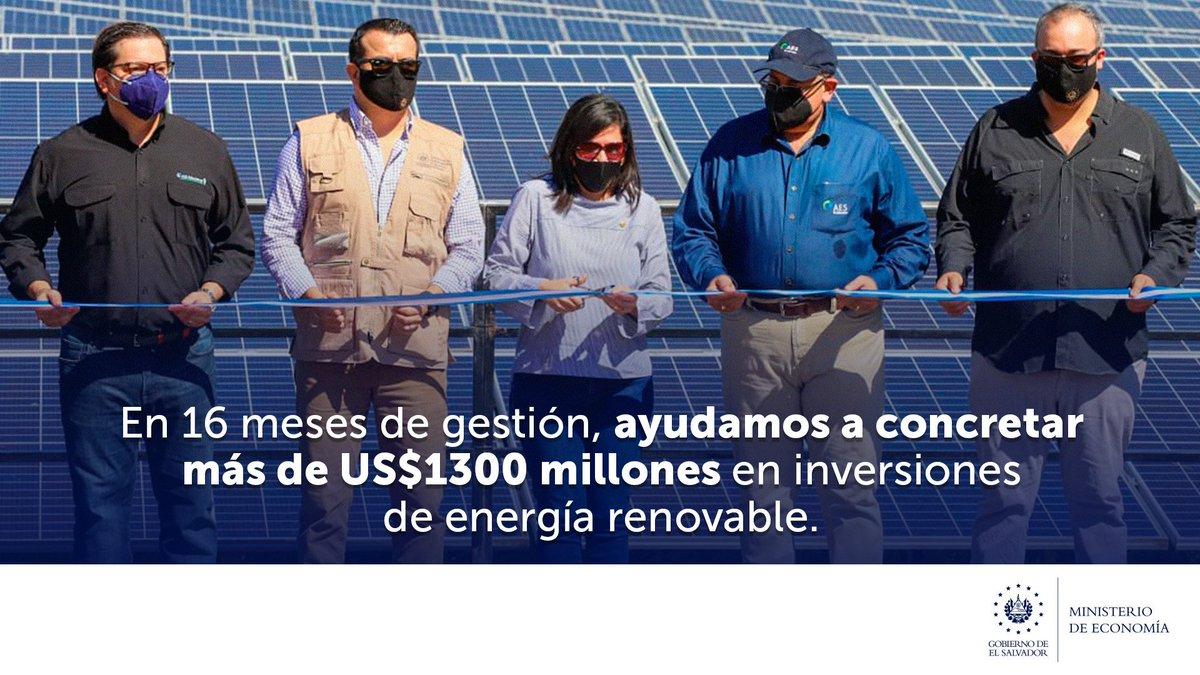 Las inversiones de energía limpia, realizadas en los últimos meses, demuestran la capacidad de nuestro Gobierno en agilizar trámites para su establecimiento y la confianza de empresarios nacionales y extranjeros para operar en El Salvador. https://t.co/EQN0tuvkCI