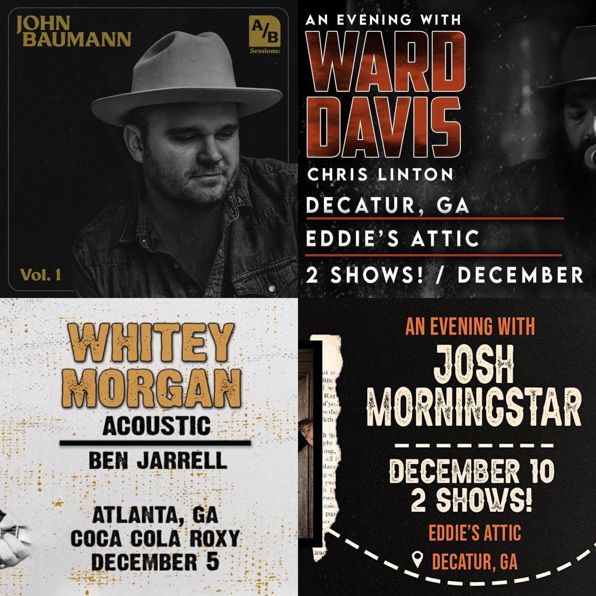 Got a BIG week ahead Atlanta...@John_Baumann_ going to kick it off Wed @GateCityBrewing Thurs @warddavismusic going to be @eddiesattic followed by @WhiteyMorgan on Fri @CocaColaRoxy The following week @joshmorningstar will be in town.