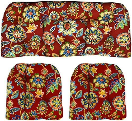 RSH D cor Indoor Outdoor Wicker Cushions Two U-Shape and Loveseat 3 Piece Set Daelyn Cherry Red with Blue Yellow, Green Floral https://t.co/g0wbAM6fLa https://t.co/5dQpJZWGar