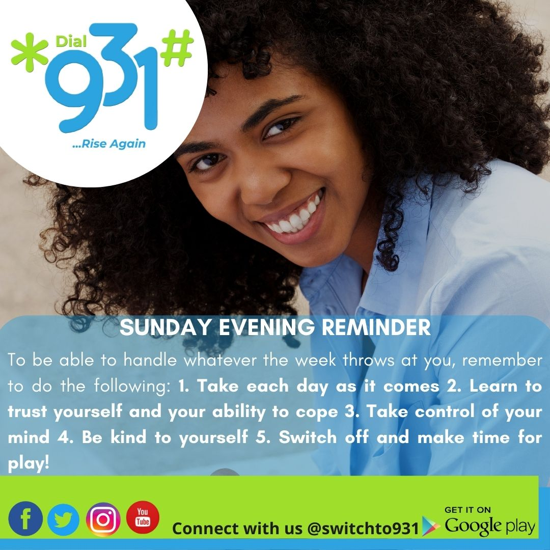 SUNDAY EVENING REMINDER   …  …Buy Airtime, Data, Electricity, Cable TV Subscription and get Cash Back  #Riseagain #RiseAgainNigeria #RiseAgainLagos #Giveaway #Switchto931 #931Makeawish #Buydata #Buyairtime #Buyelectricity