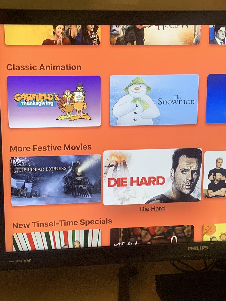 Debate over, Apple TV has Die Hard as a Christmas movie. https://t.co/3tgsDW7ESs