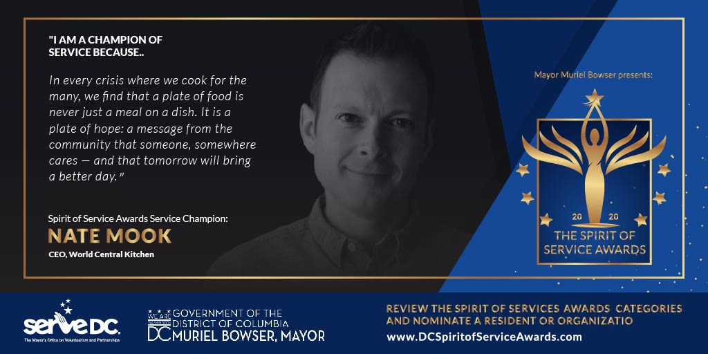 The #DCSpiritOfService Awards Champion Circle embodies our mission and personifies #DCValues.   Meet Spirit of Service Champion, Nate Mook @natemook, CEO of World Central Kitchen @wckitchen.   Nominate a leader in your community TODAY at ! #DoGoodDC