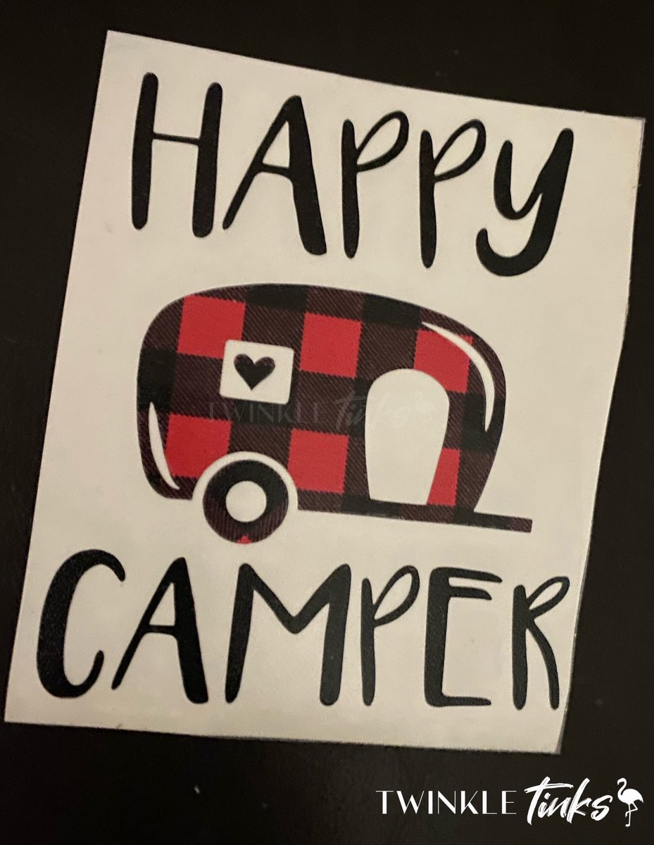 Happy Camper Decal in Buffalo Plaid ❤️ $5 #happycamper #buffaloplaid #christmas #wilmington #nc #tinksboutique