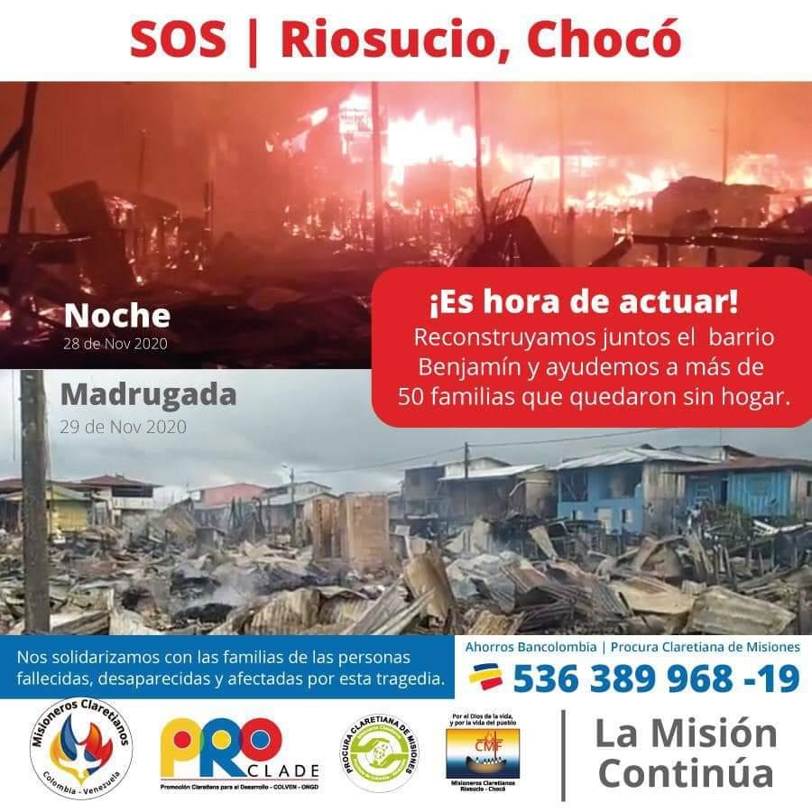 #LaImagenHoy Urge #Solidaridad  Un incendio arrasó con la mayoría de las viviendas del Barrio Benjamín en RioSucio, Chocó.