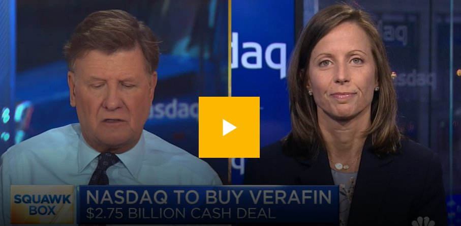 CEO @AdenaTFriedman recently joined @SquawkCNBC to discuss @Nasdaq's acquisition of @Verafin, a pioneer in cloud-based anti-financial crime management solutions.   Watch here: https://t.co/dDgnNmmYvT https://t.co/6pF2WY4jmN