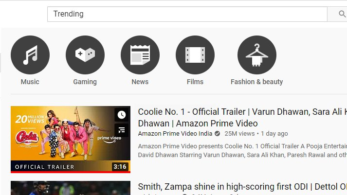 GUYS Look Now i Just Cheked the TRENDING ON YOUTUBE  And saw this is always Trending no1 in Youtube 💖💖💖💖💖💖 @Varun_dvn  Dekh Na? #CoolieNo1 #CoolieNo1Trailer