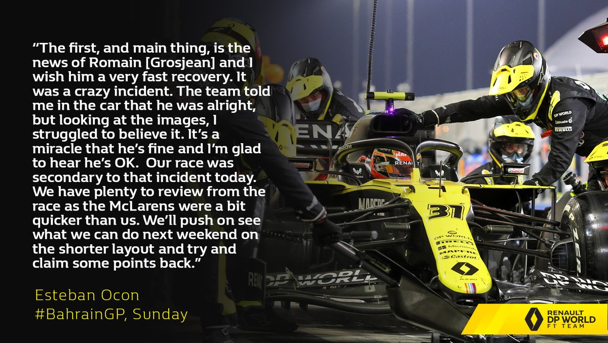"""The first, and main thing, is the news of Romain [Grosjean] and I wish him a very fast recovery."" @OconEsteban   Full story from today here 👉 https://t.co/EMQWcbflHF  #RSspirit #BahrainGP https://t.co/7X14QRhHfN"