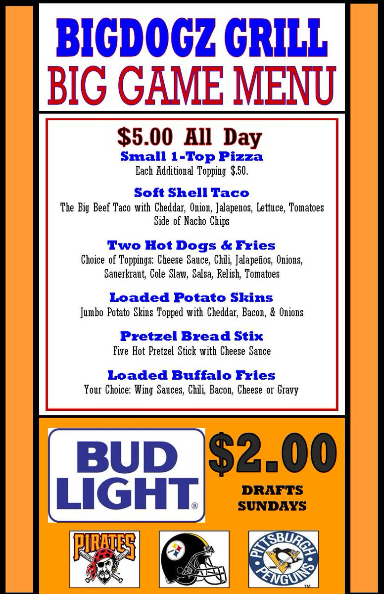 **SUNDAY FUNDAY**  4p Dolphins vs Broncos  4p Packers vs Colts 4p Cowboys vs Vikings  $5 BIG GAME MENU  $2 Bud Light Drafts  *Watch Every NFL Game Here!  -- Eat-In, Take-Out & Delivery --  ** 8am - Midnight ** 814-266-6814  https://t.co/ctJqN8xrh5 https://t.co/smXet4j2hZ