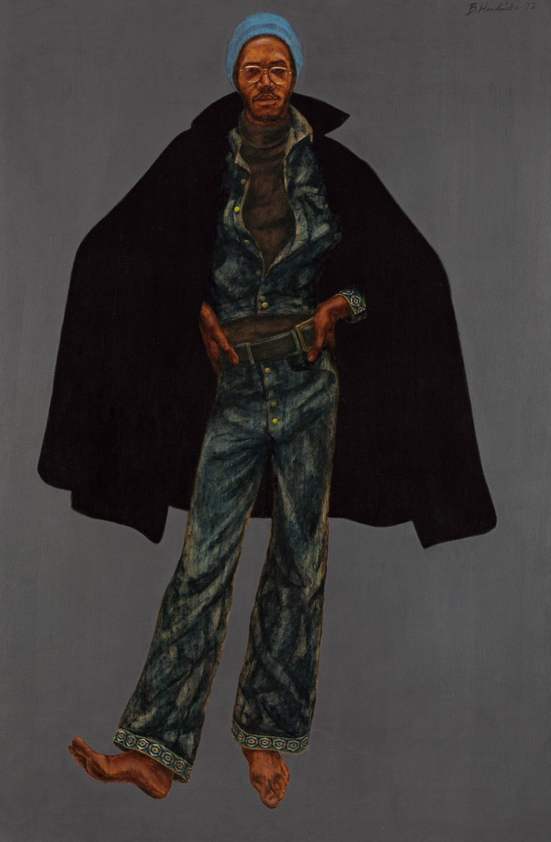 """George Jules Taylor"" was painted by #BarkleyHendricks in 1972 and encapsulates 70s fashion, pop culture, & the assertion of Black identity. The painting's main subject, Jules, was Hendricks' lifelong friend and muse who he met while the two were enrolled at Yale 🎨 https://t.co/iraH4RuK91"