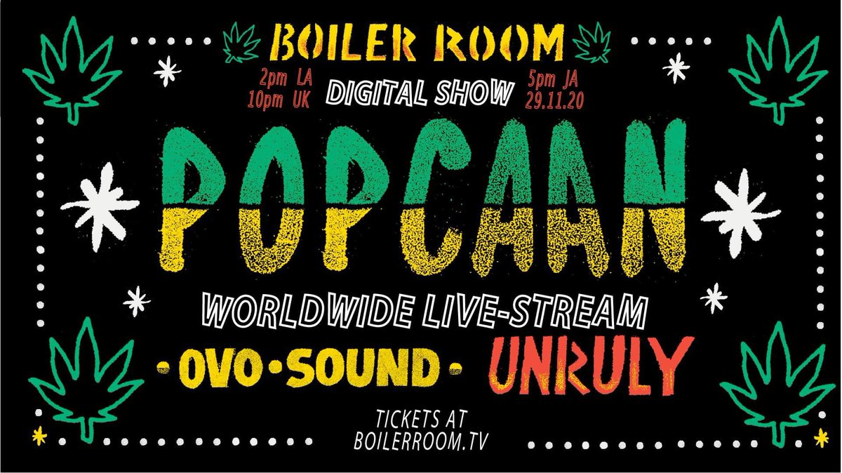 Today is a good day for Caribbean music. Tune in to @PopcaanMusic's show on @boilerroomtv, with @RootsLewis on percs ✨ Check out   for details. Super excited for this special digital performance today! 🙌🏾#OVOSound #Unruly #fixtape