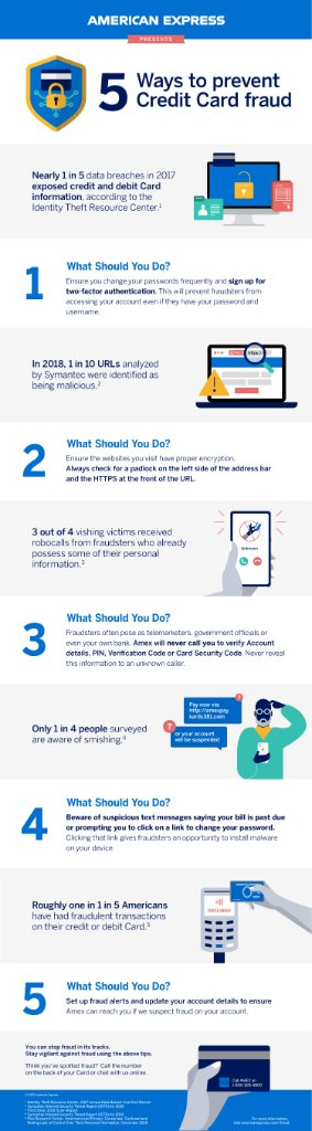 Fraud increases during the holiday shopping season. Check out this infographic with  5 ways to prevent credit card fraud. #BeCyberSmart https://t.co/b8QGNQLd6T