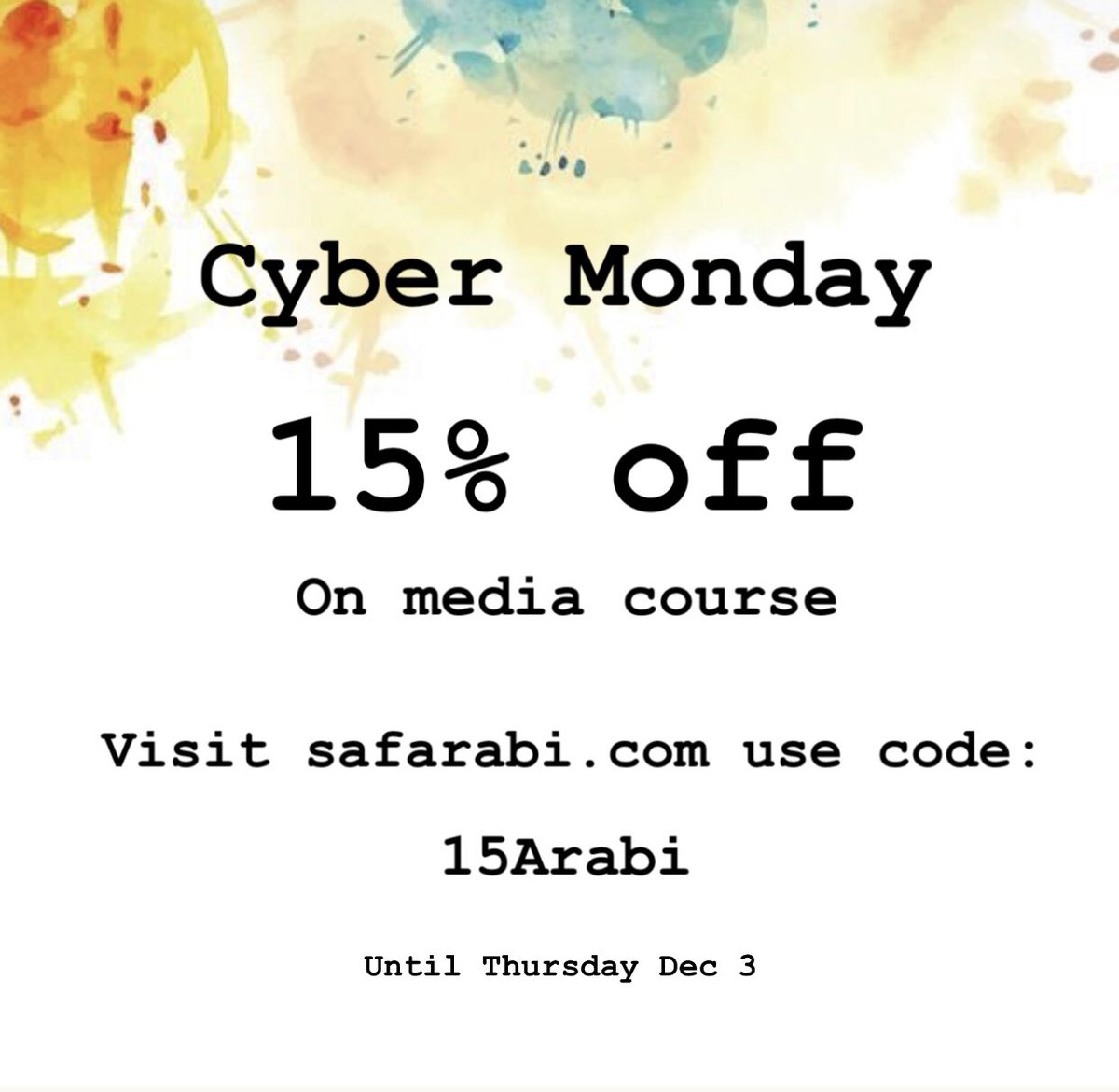 15% off on media class! It's colloquial and formal Arabic in one class!   . Check out our courses on our website:   #arabic #language #MiddleEast #arabicfornonspeakers #classes #online #onlineclasses #teach #safarabi #اللغةالعربية #العربيةللناطقين_بغيرها