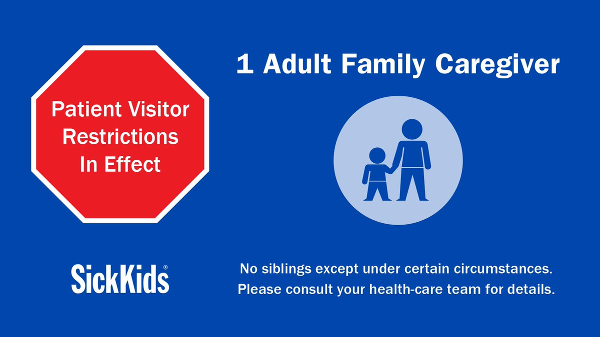 Reminder: To help keep everyone safe from #COVID19, only ONE adult caregiver may accompany patients anywhere in the hospital at this time. If it's not essential for you to be at SickKids, please stay home. More at