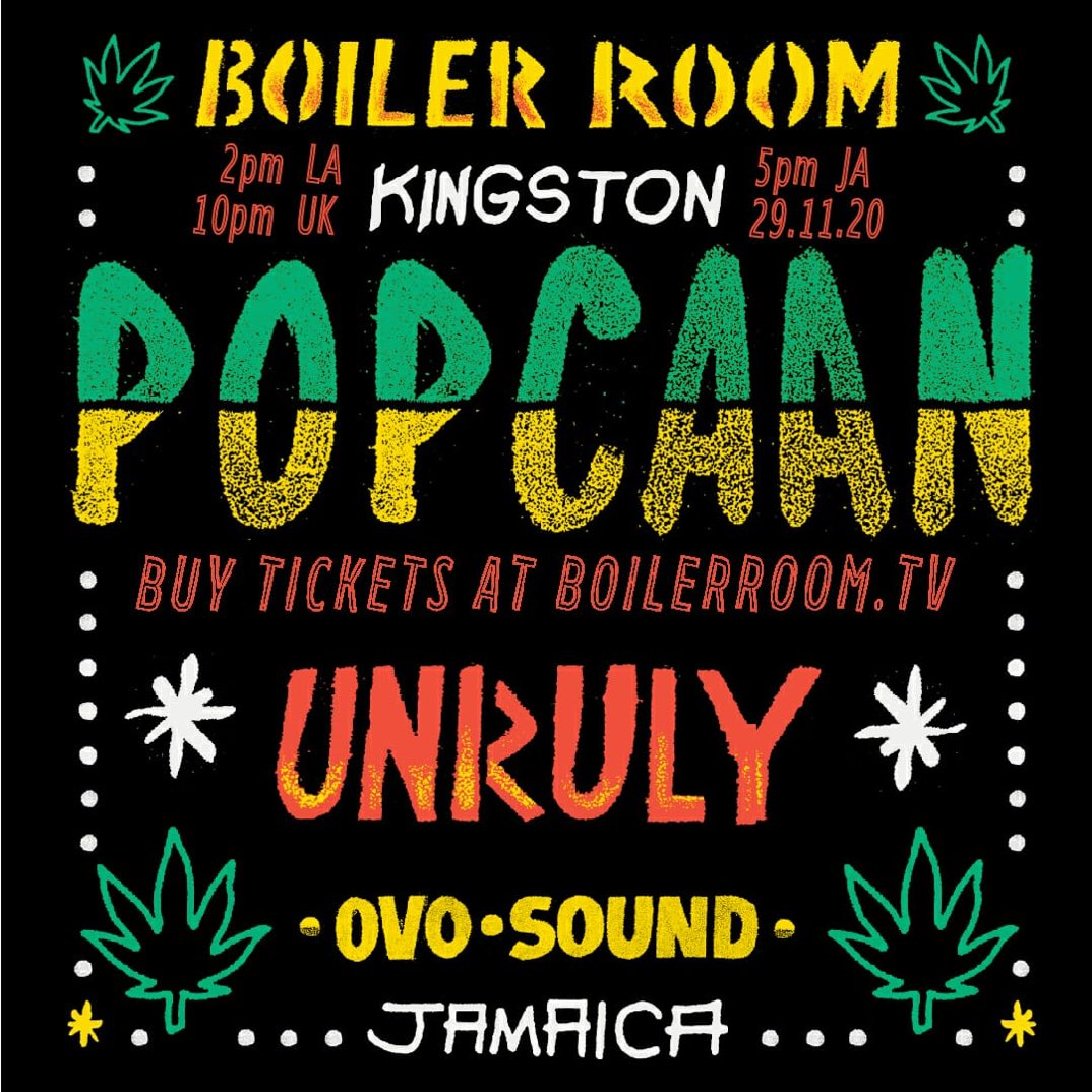 Today 5PM EST @boilerroomtv x @PopcaanMusic LIVE Performance of FIXTAPE straight from Jamaica #Unruly #OVO #BoilerRoom  Tickets here ->>