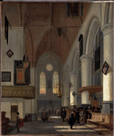 test Twitter Media - Rond 1685 schilderde Hendrik van Streek dit interieur van de Oude Kerk. Links vooraan staat een zwarte man met een opvallend rood kleed. Misschien een bediende van de oude man met hoed rechts voor de bankjes. Op de foto min of meer dezelfde plek vandaag. #amsterdam #oudekerk https://t.co/9DHsWOsq3r
