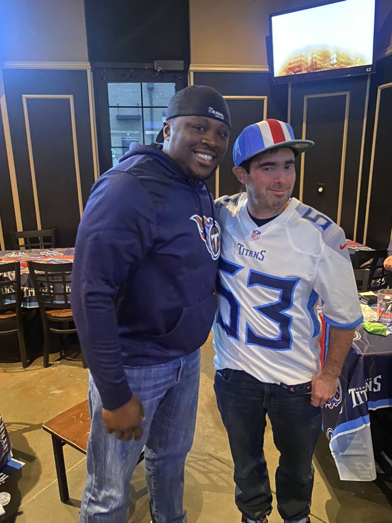 Shoutout to @TheRealPres10 for coming out today to the watch party. Nothing beats having @Titans fans to watch a #titans win with!