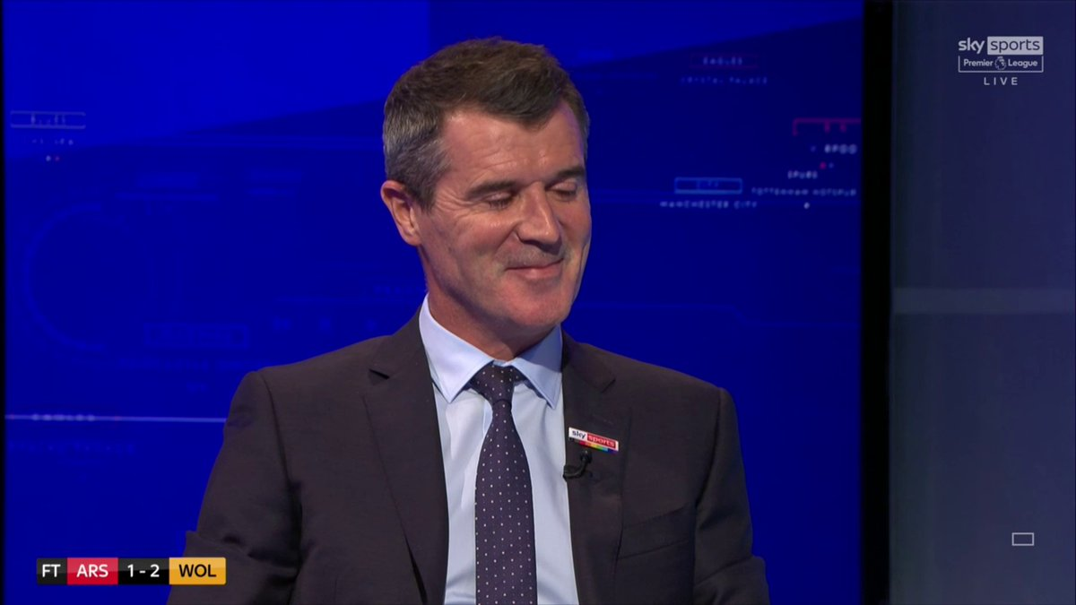 """😭 Roy Keane thinks that Arsenal won't get relegated this season, but could not say it with a straight face:  🗣""""I think they will have enough to stay up, I still think they will be strong enough to stay in the division"""".  😂🤣😭  #THFC #COYS"""