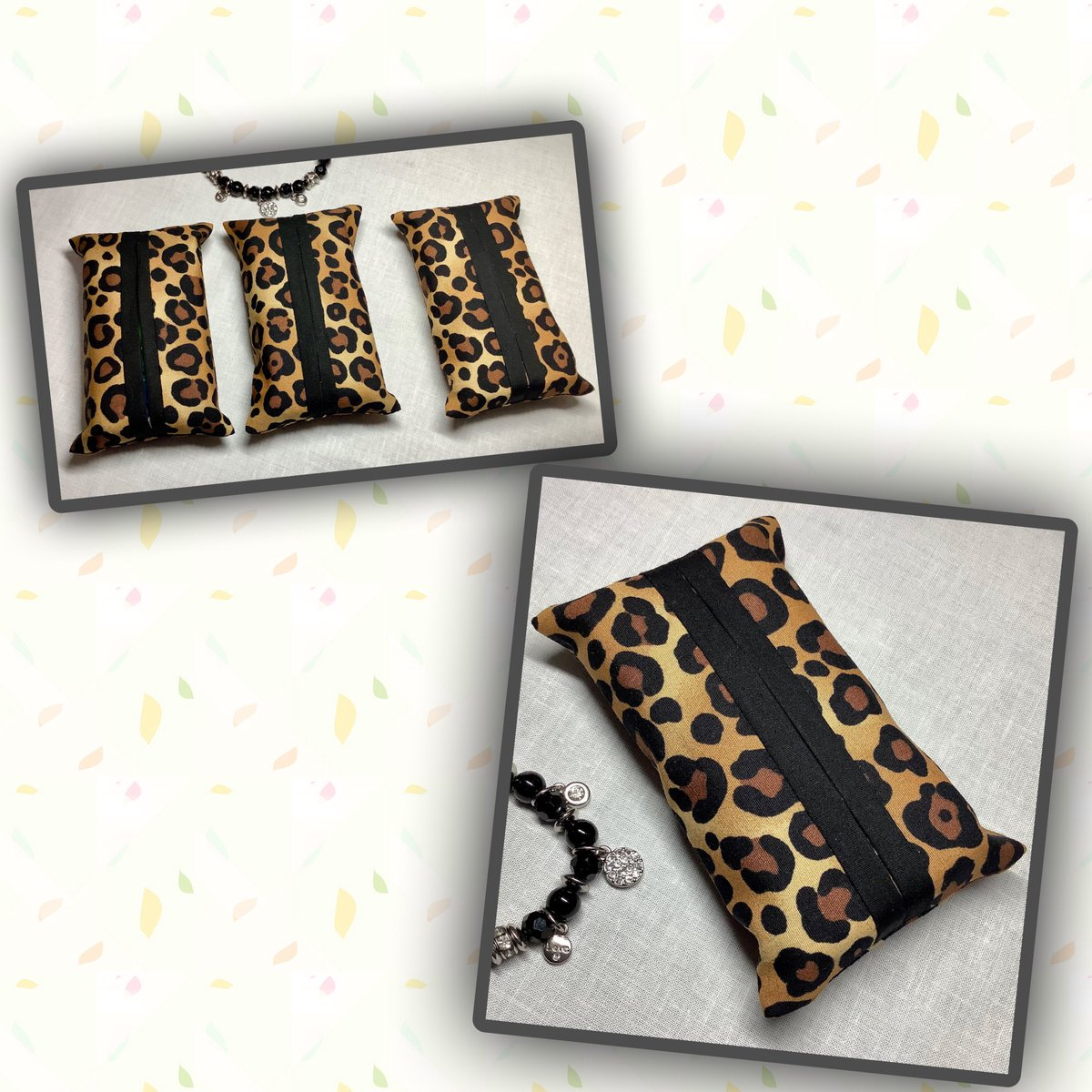 #leopardprint #tissueholders available from my #etsyshop matching #facemasks also available. #WearAMask #StaySafe #christmasgiftidea