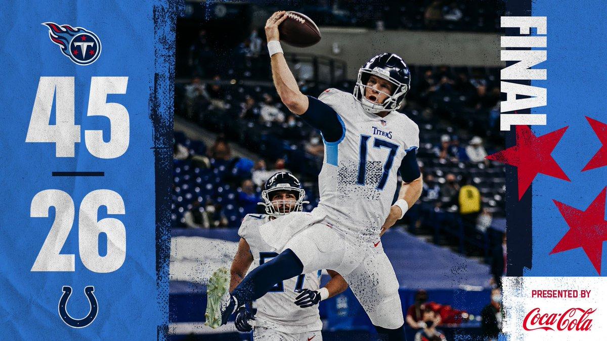 Los #Titans derrotan a los #Colts y recuperan el liderato de la AFC Este  🏈Derrick Henry: 185 Yds, 3 Rush TD  🏈Philip Rivers: 295 Yds, 2 Pass TD  #TitanUp #ForTheShoe