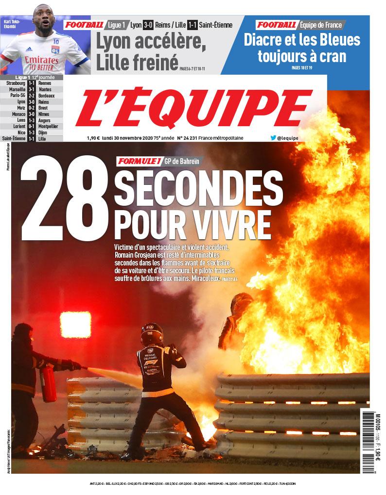 RT @lequipe: La une du journal L'Équipe du lundi 30 novembre. https://t.co/5R0wKarldL
