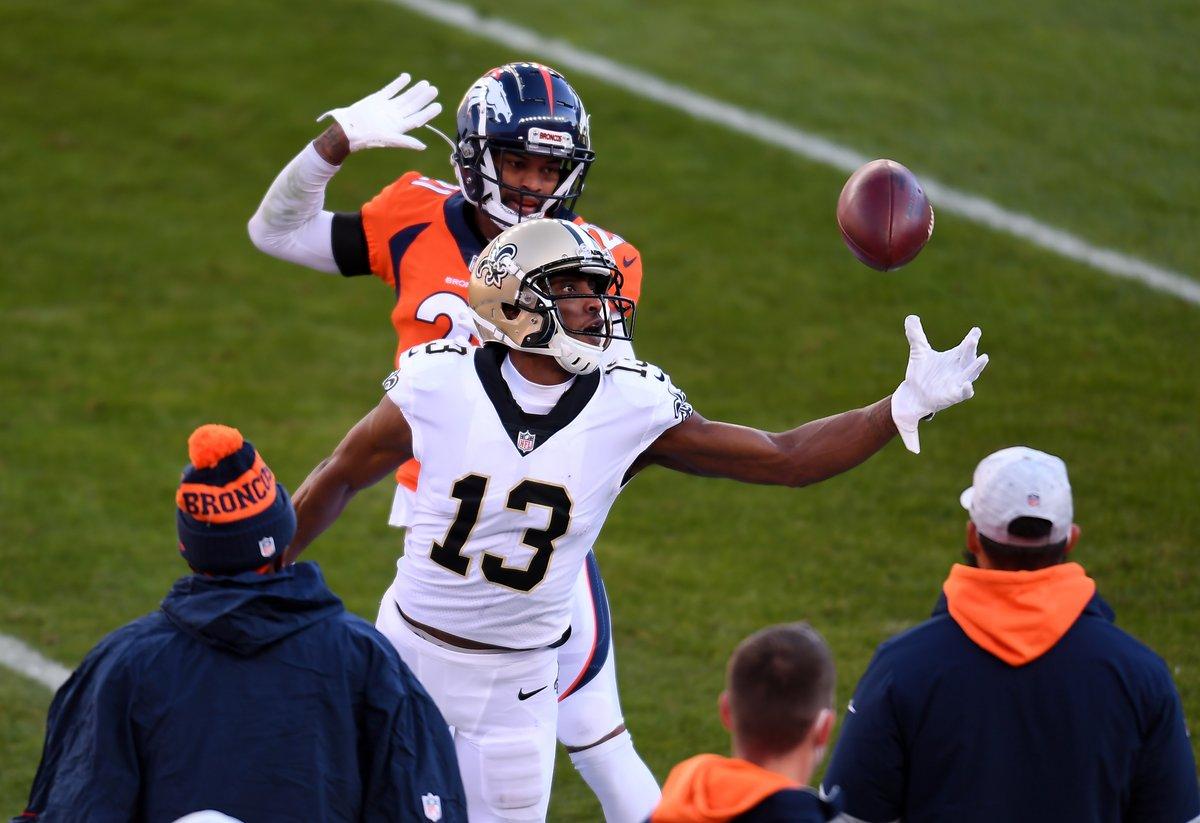 SAINTS MARCHING ON  #Saints (-15.5) 17 #Broncos (+15.5) 0 O/U 36.5 HALF  Broncos practice squad WR turned starting QB Kendall Hinton: 0-for-7, INT.  #NOvsDEN Odds & Deals: