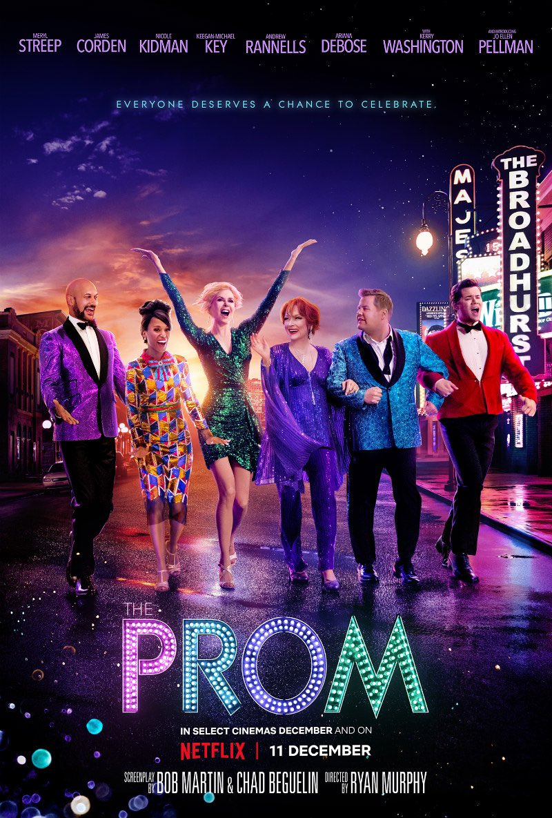 I have found my favorite movie of the year! @promnetflix is simply fabulous  and joyful. Thank you @MrRPMurphy for taking us to #TheProm and for bringing Broadway into our homes. Meryl is magnificent. Lou Eryich's costumes are bold and daring. Libatique is a genius of the craft.