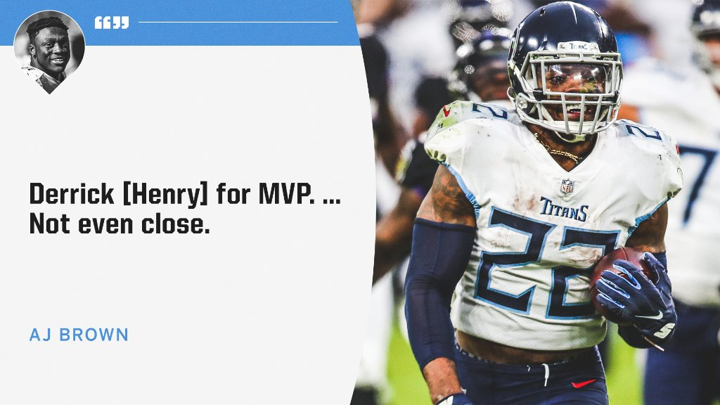 AJ Brown is rocking with Derrick Henry for MVP.   Who do you have taking the award? 👀 @Brown1arthur