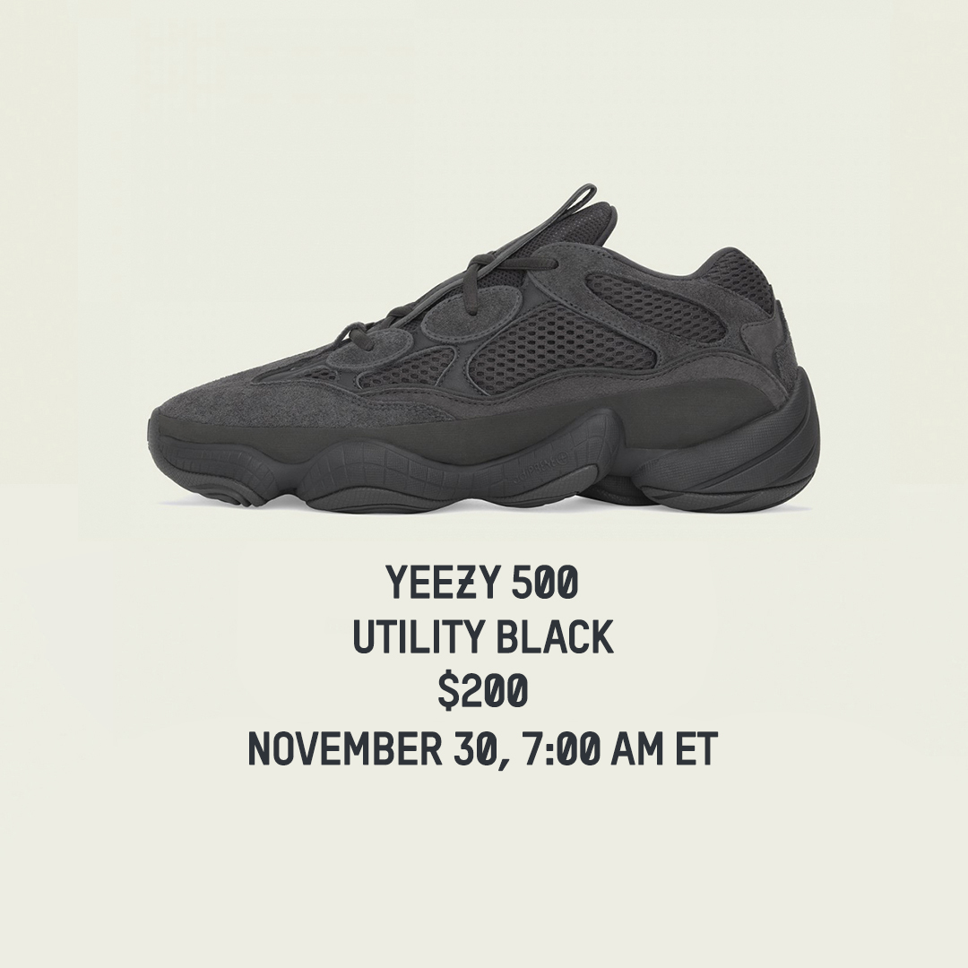 Releasing in 20 minutes. #YEEZY 500 UTILITY BLACK.  JD  https://t.co/BC0T8nxx81 FTL  2  #ad