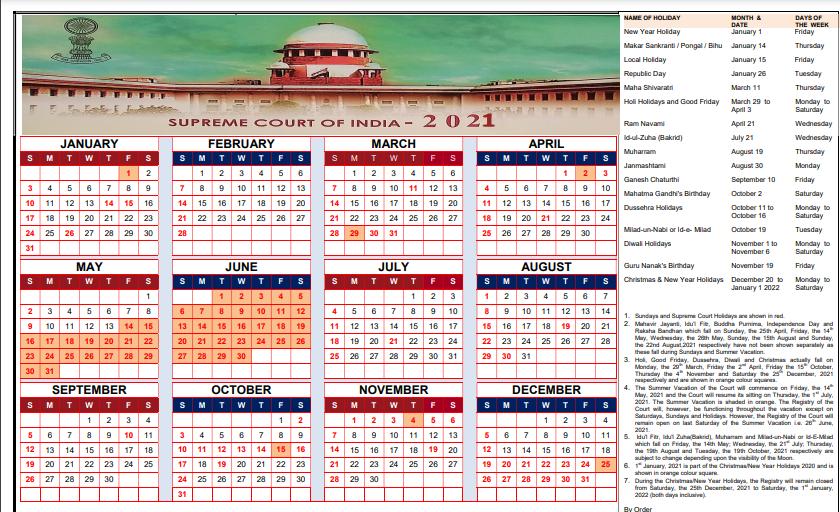2021 Supreme Court Calendar Photos