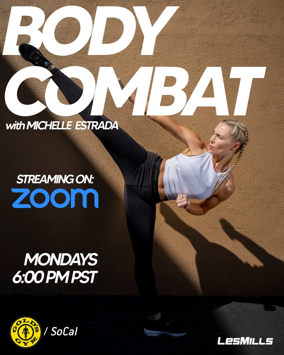 Get pumped for #BodyCombat every Monday morning on #Zoom with #MichelleEstrada at 10 AM PST!⁠ - - Click the link for access to all of our #Zoom classes.   ⁠ #GoldsGym #GoldsGymSoCal #StayInShape #HomeWorkout #FitnessVideos